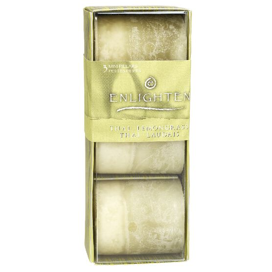 Enlighten Mini Pillar Candles - Thai Lemon Grass - 3 pack