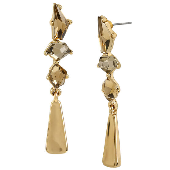Robert Lee Morris Faux Topaz Stone Linear Earrings - Bronze