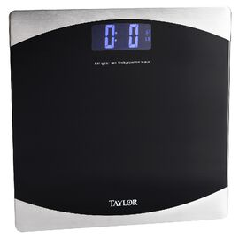 Taylor Glass Bathroom Scale - Black - 7562EF