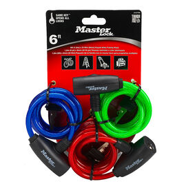 Master Lock Keyed 6 Foot Cable Lock - 3 pack