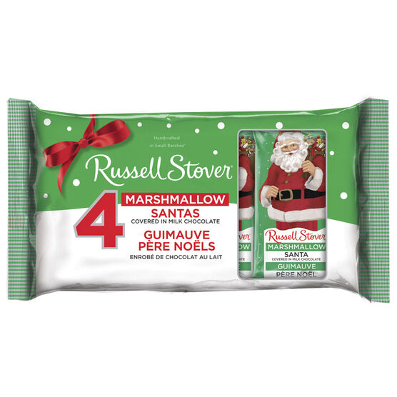 Russell Stover Marshmallow Santa Covered in Milk Chocolate - 112g/4's