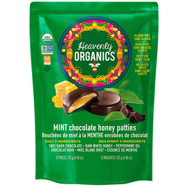 Heavenly Organics Chocolate Honey Patties - Mint - 132g