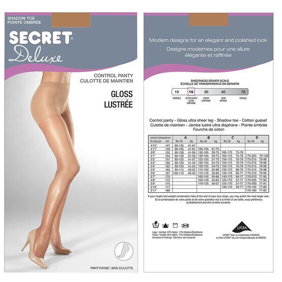 Secret Gloss Control Top Panty Hose - C - Nude