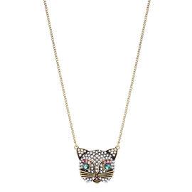 Betsey Johnson Cat Necklace - Brass Ox