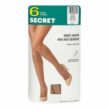 Secret Comfort Band Knee High - Neutral - 6 pairs