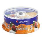 Verbatim DVD-R 4.7GB up to 16X White Inkjet Printable Hub Printable Recordable Disc - 25 pack