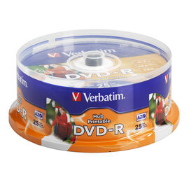 Verbatim DVD-R 4.7GB up to 16X White Inkjet Printable Hub Printable Recordable Disc - 25 pack