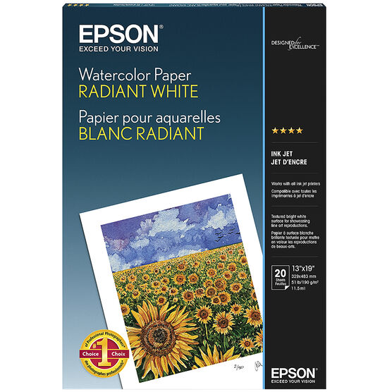 Epson Watercolour Paper Radiant White - 13 x 19 - 20 Sheets