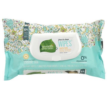 Seventh Generation Baby Wipes - Free & Clear - 64s