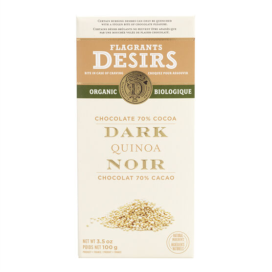 Flagrants Desirs - 70% Dark Chocolate Quinoa  - 100g