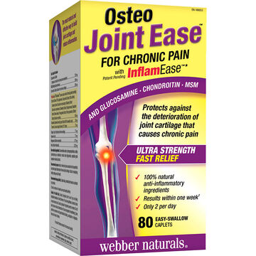 Webber Naturals Osteo Joint Ease for Chronic Pain - Glucosamine, Chondroitin & MSM - 80's
