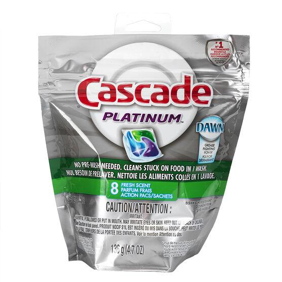 Cascade Platinum Dishwasher Detergent - Fresh Scent - 8's