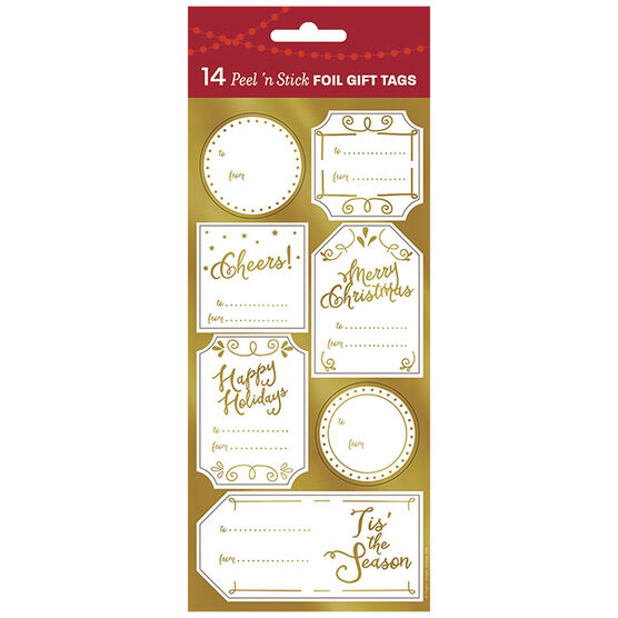 Christmas Elegant Gold Foil Gift Tags - 14s