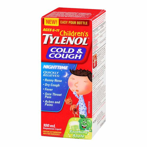 Tylenol* Child's Cold & Cough Nighttime Suspension Liquid - Soothing Apple - 100ml