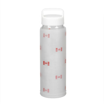 London Drugs Glass Sports Bottle with Silicone Sleeve - Maple Leaf - 700ml