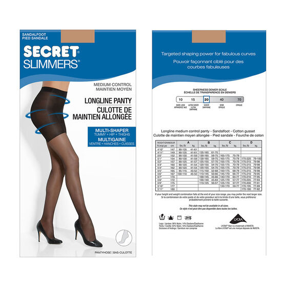 Secret Slimmers Control Top Longline Pantyhose