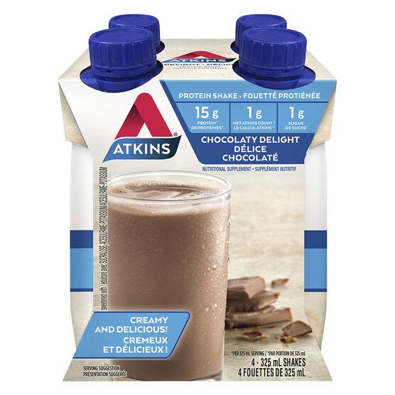 Atkins Advantage Ready To Drink Shake - Milk Chocolate Delight - 4 x 325ml