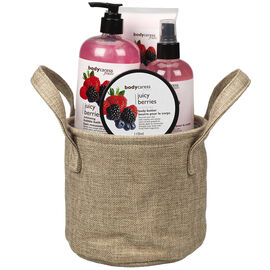 BodyCaress Fruits Bath Gift Set with a Canvas Bag - Juicy Berries - 4 piece