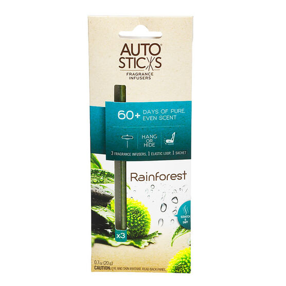 Auto Air Freshener Sticks - Rainforest - 3's