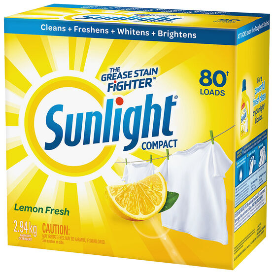 Sunlight Powder Laundry Detergent - Lemon Fresh - 2.94kg/80 Uses