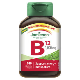Jamieson Vitamin B12 1,000 mcg (Methylcobalamin) Sublingual Tablets - 100's