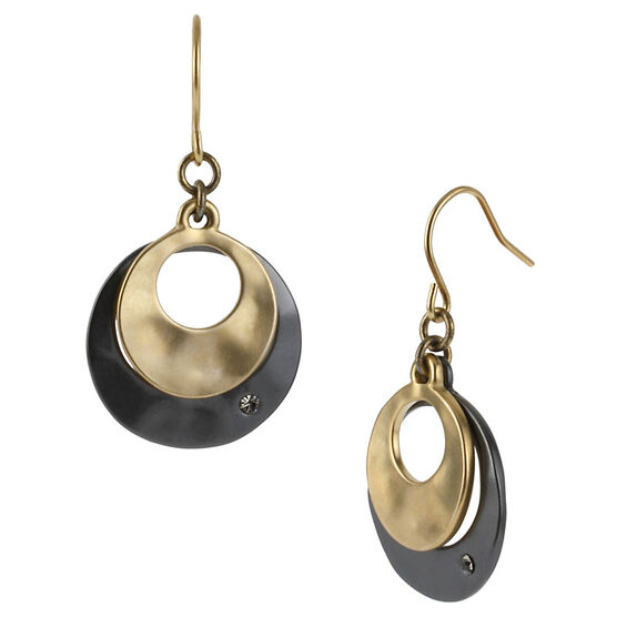Kenneth Cole Double Drop Earrings - Gold & Hematite Tone