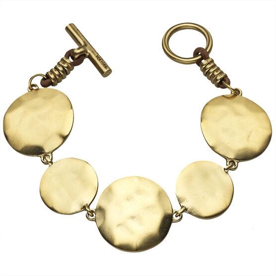 Kenneth Cole Hammered Disc Bracelet - Gold Tone