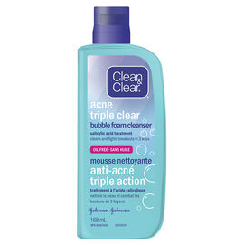 Clean & Clear Acne Triple Clear Bubble Foam Cleanser - 168ml