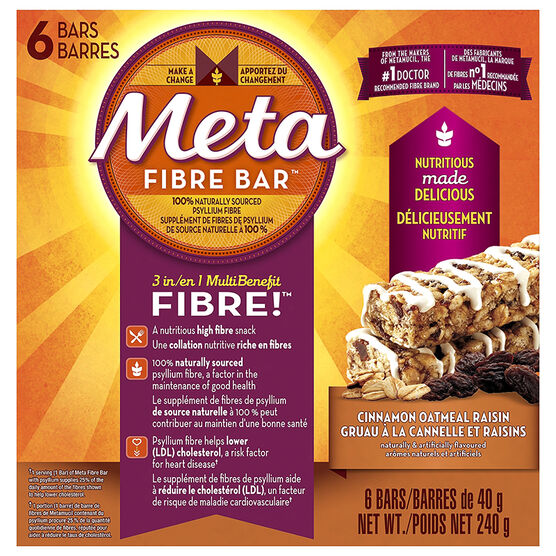 Meta Fibre Bar - Cinnamon Oatmeal Raisin - 6's