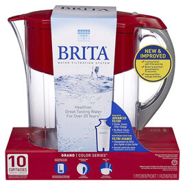 Brita Grand Pitcher with Bottle - Red - 10 cups