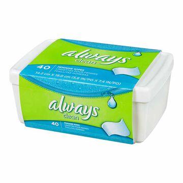 Always Feminine Wipes Tub - 40's