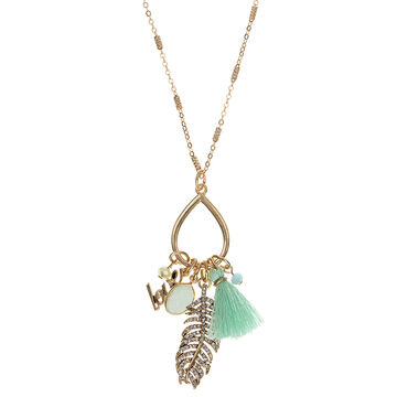 Lonna & Lilly 32-inch Shaky Feather Necklace - Green