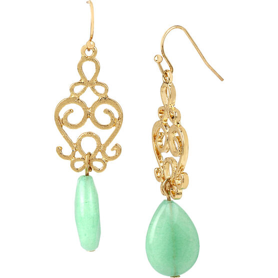 Haskell Filigree Drop Earrings - Mint/Gold