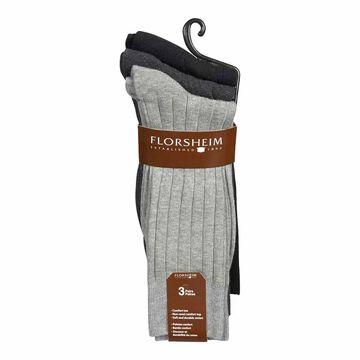 Florsheim Men's Crew Socks - Black - 3 Pairs