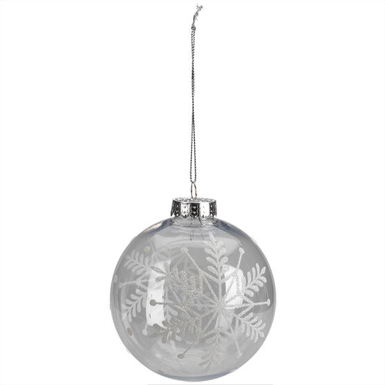 Winter Wishes Clear Snowflake Ball Ornament - XLD2016-19UFOB