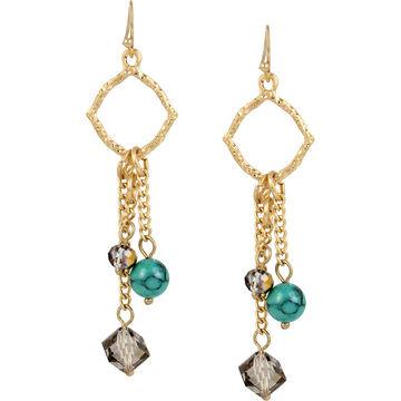 Haskell Beaded Drop Earrings - Green/Gold