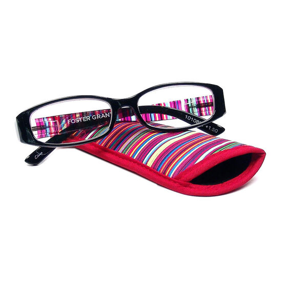Foster Grant Rainbow Reading Glasses with Case - Black - 2.00