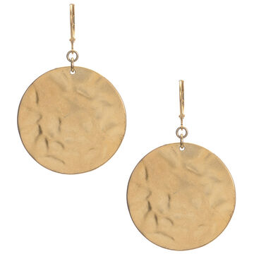 Kenneth Cole Hammered Disc Drop Earrings - Gold Tone