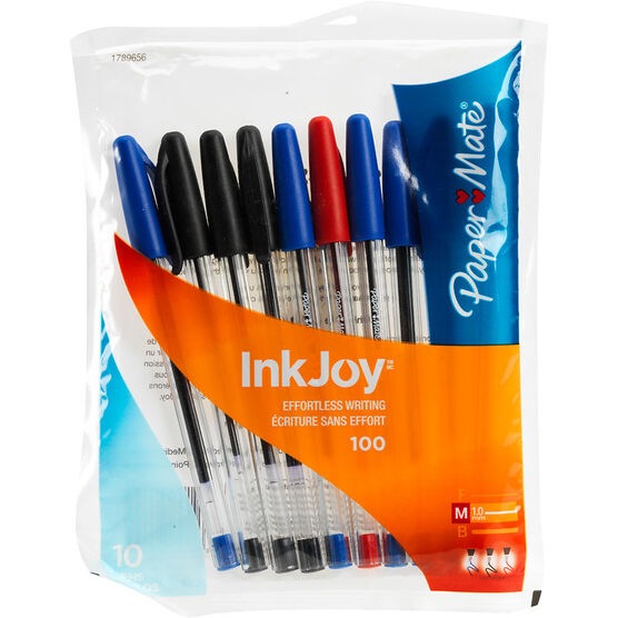 Paper Mate InkJoy 100 Stick 1.0mm Ballpoint Pens - Business Colours - 10 pack