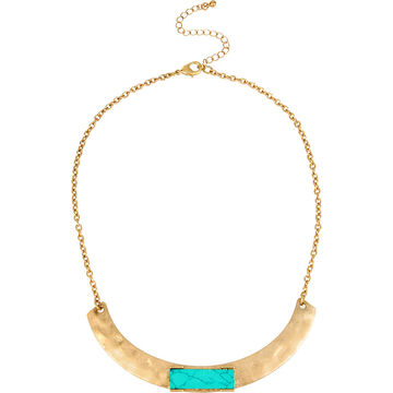 Haskell Stone Pendant Collar Necklace - Turquoise/Gold
