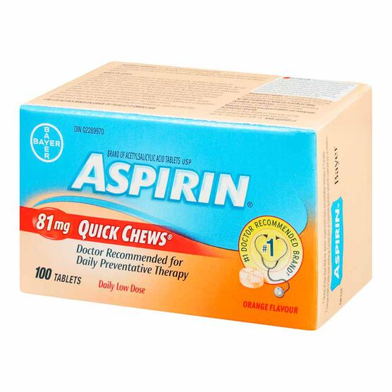 Aspirin 81mg Quick Chews - Orange - 100 tablets