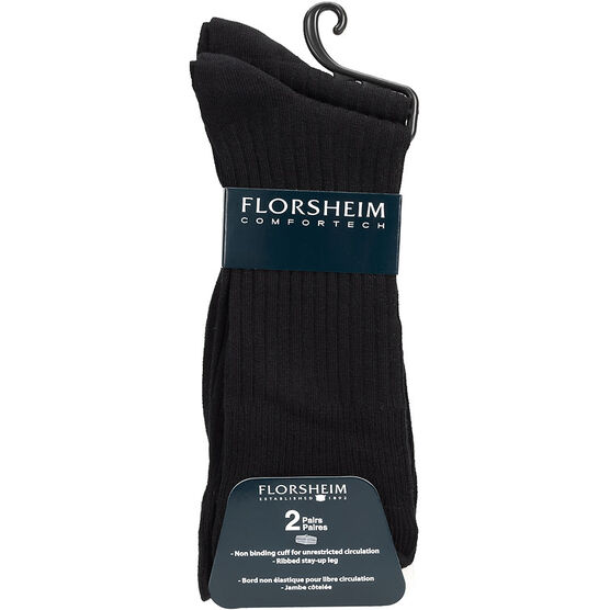 Florsheim Men's Casual Crew Socks - Black - 2 pair