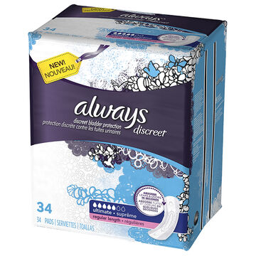 Always Discreet Pads Ultimate Regular Length - 28's