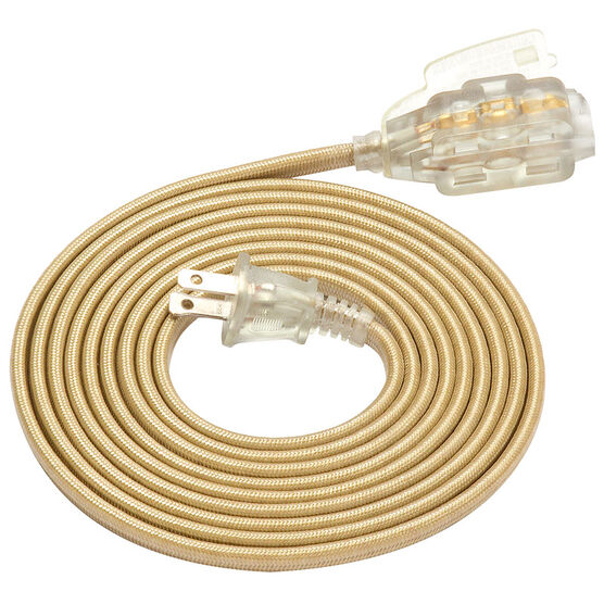 Globe Extension Cord with Outlet - Clear and Gold - 2M/3outlet