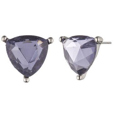Lonna & Lilly Trillion Cut Stud Earrings - Purple