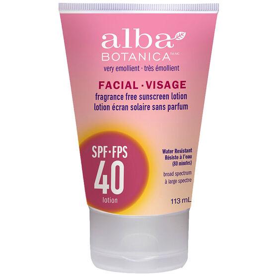 Alba Botanica Facial Fragrance Free Sunscreen Lotion - SPF40 - 113ml