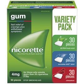 Nicorette Gum - Variety Pack with Cinnamon - 4mg - 90's