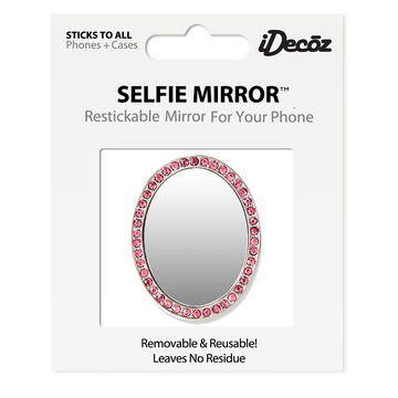iDecoz Pink Cubic Zirconia Oval Selfie Mirror - Silver