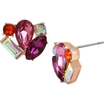 Betsey Johnson Boat House Cluster Stud Earrings - Multi/Rose Gold