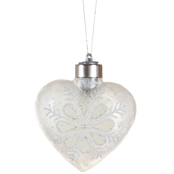 Winter Wishes Blue Ice Heart Ornament - Frosty White